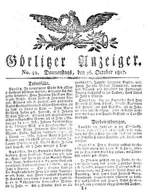 Görlitzer Anzeiger vom 16.10.1817