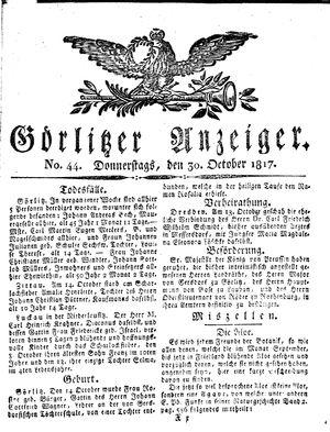 Görlitzer Anzeiger vom 30.10.1817