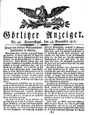 Görlitzer Anzeiger vom 13.11.1817