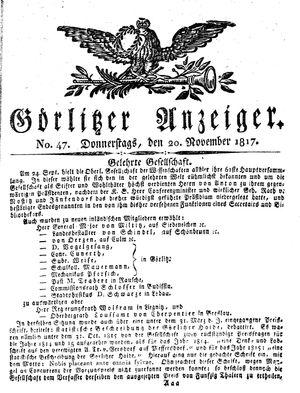 Görlitzer Anzeiger vom 20.11.1817