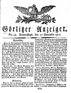 Görlitzer Anzeiger vom 27.11.1817