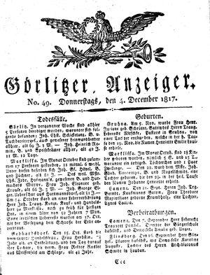 Görlitzer Anzeiger vom 04.12.1817