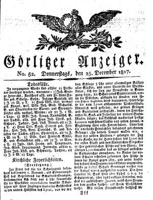 Görlitzer Anzeiger vom 25.12.1817