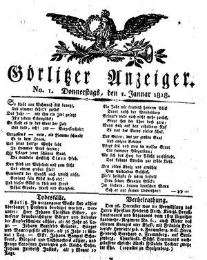 Görlitzer Anzeiger vom 01.01.1818