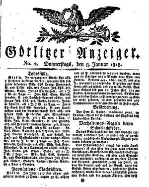 Görlitzer Anzeiger vom 08.01.1818