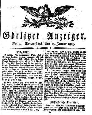 Görlitzer Anzeiger vom 15.01.1818