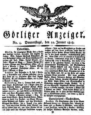 Görlitzer Anzeiger vom 22.01.1818