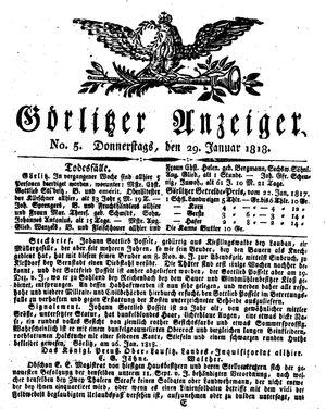 Görlitzer Anzeiger vom 29.01.1818