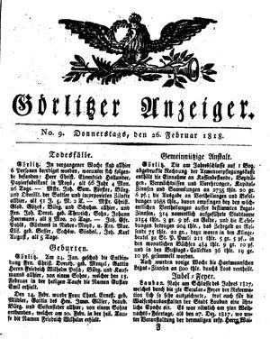Görlitzer Anzeiger on Feb 26, 1818
