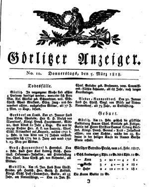 Görlitzer Anzeiger vom 05.03.1818