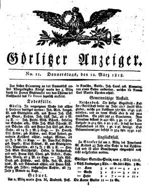 Görlitzer Anzeiger vom 12.03.1818