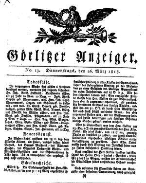 Görlitzer Anzeiger vom 26.03.1818