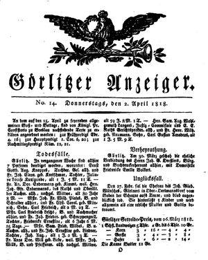 Görlitzer Anzeiger vom 02.04.1818