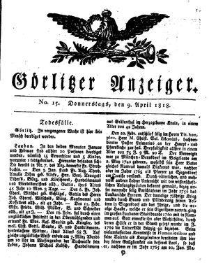 Görlitzer Anzeiger vom 09.04.1818
