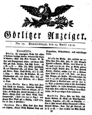 Görlitzer Anzeiger vom 23.04.1818