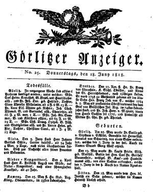 Görlitzer Anzeiger vom 18.06.1818