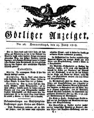 Görlitzer Anzeiger vom 25.06.1818