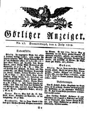 Görlitzer Anzeiger vom 02.07.1818