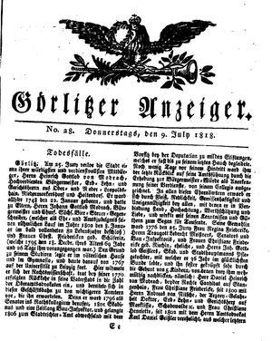 Görlitzer Anzeiger vom 09.07.1818