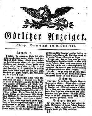 Görlitzer Anzeiger vom 16.07.1818