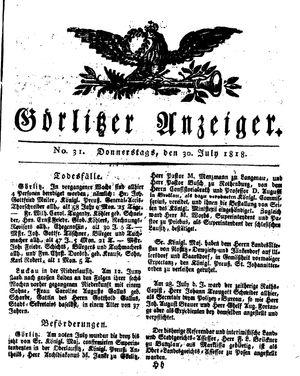 Görlitzer Anzeiger vom 30.07.1818