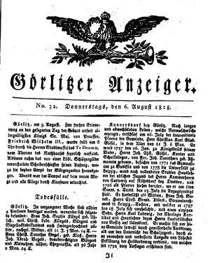 Görlitzer Anzeiger vom 06.08.1818