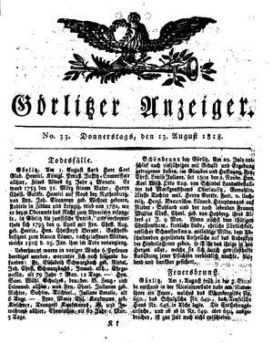 Görlitzer Anzeiger vom 13.08.1818