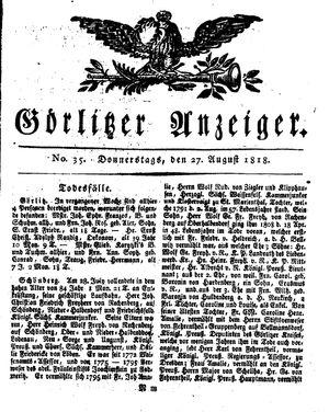 Görlitzer Anzeiger on Aug 27, 1818