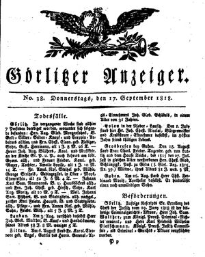 Görlitzer Anzeiger vom 17.09.1818