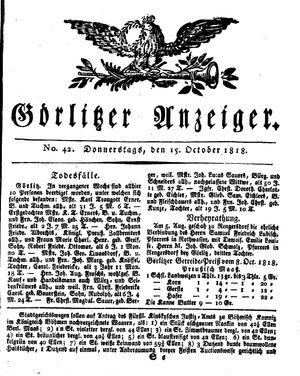 Görlitzer Anzeiger vom 15.10.1818