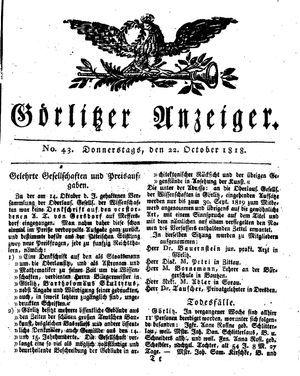 Görlitzer Anzeiger vom 22.10.1818