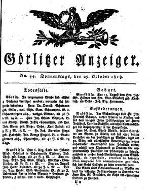 Görlitzer Anzeiger vom 29.10.1818
