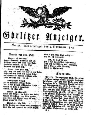 Görlitzer Anzeiger vom 05.11.1818