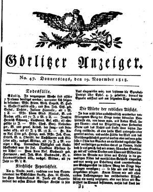 Görlitzer Anzeiger vom 19.11.1818