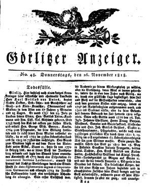 Görlitzer Anzeiger vom 26.11.1818