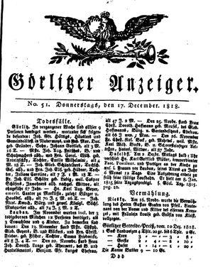 Görlitzer Anzeiger vom 17.12.1818