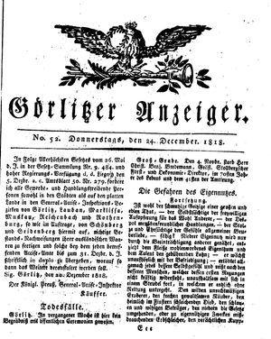 Görlitzer Anzeiger vom 24.12.1818