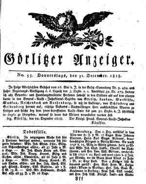 Görlitzer Anzeiger vom 31.12.1818