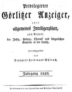 Görlitzer Anzeiger vom 01.01.1820