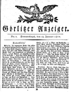 Görlitzer Anzeiger vom 13.01.1820