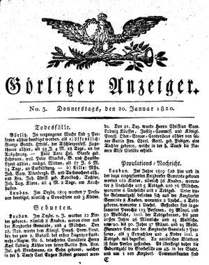 Görlitzer Anzeiger vom 20.01.1820