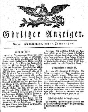 Görlitzer Anzeiger vom 27.01.1820