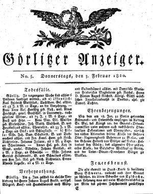 Görlitzer Anzeiger vom 03.02.1820