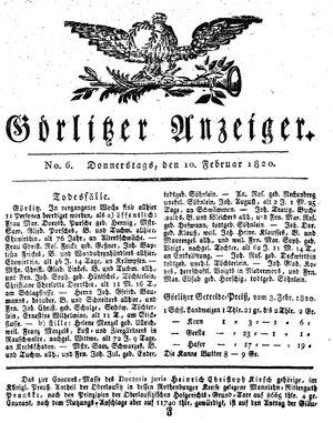 Görlitzer Anzeiger vom 10.02.1820