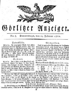 Görlitzer Anzeiger vom 24.02.1820