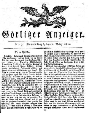 Görlitzer Anzeiger vom 02.03.1820