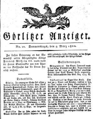 Görlitzer Anzeiger vom 09.03.1820