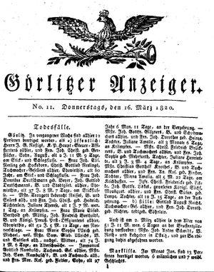 Görlitzer Anzeiger vom 16.03.1820