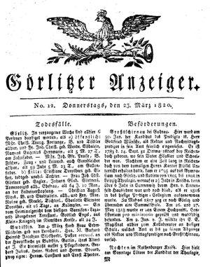 Görlitzer Anzeiger vom 23.03.1820