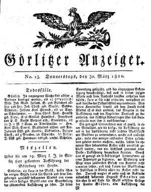 Görlitzer Anzeiger vom 30.03.1820